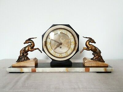 STUNNING 1930s FRENCH ART DECO MARBLE & SPELTER GAZELLE MANTLE CLOCK WORKING
