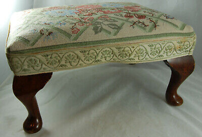 Vintage Footstool Tapestry Top Queen Anne Legs