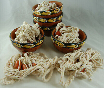 5 Terracotta Planters with Rope and Bead Hangers