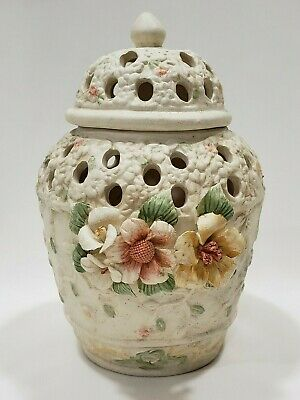 Potpourri Jar & Lid Ceramic 3D Flowers