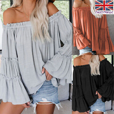 UK Women Vest Tops Blouse Pleated Holiday Off Shoulder Ruffle Bell Sleeve Casual