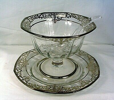Antique Rockwell Sterling Silver Overlay Crystal Glass Mayonnaise Bowl & Plate