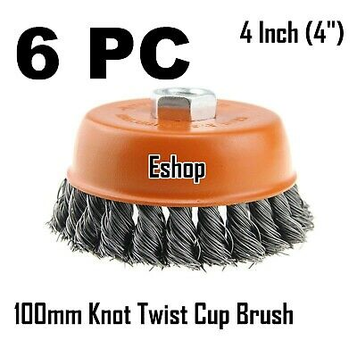 """6 x 4"""" Wire Cup Brush Wheel for 4-1/2"""" Angle Grinder 5/8-11 Twist Knot Hoteche"""