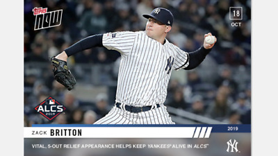 2019 Topps Now Alcs Card Yankees Zack Britton #1029 5-Out Relief Appearance