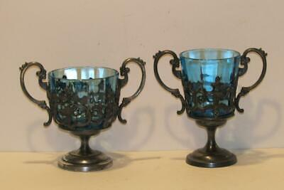Victorian James W Tufts Silverplate Sugar Bowl & Spooner Blue Glass Inserts