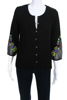 Bazar Christian Lacroix Womens Sleeve Stitch Embroidered Cardigan Black Size M
