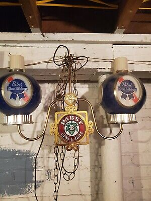 Vintage 1979 Pabst Blue Ribbon Beer Double Sconce Hanging Light Fixture