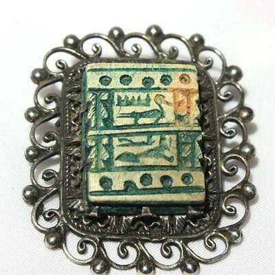 Faience Bead Egyptian Brooch, Egyptian Revival Hieroglyphics Silver Brooch
