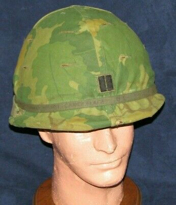 Original Vietnam War US M1 Helmet w/Captain's Bars Mitchell Camo Cover & Liner