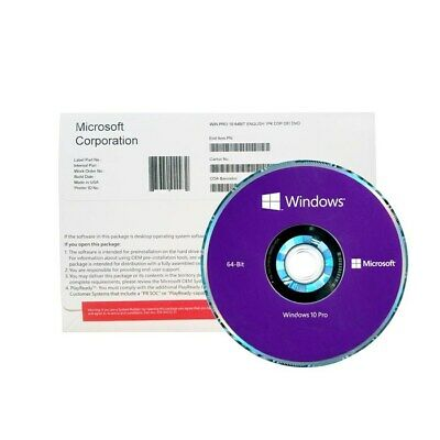 Microsoft Windows 10 Professional PRO 64Bit Full Version DVD with Product Key