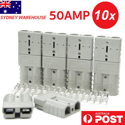 10X Anderson Style Plugs 50 AMP Connector 6AWG DC12-24V Power Tool Solar Caravan