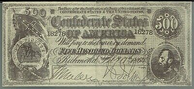 Confederate States of America $500 Banknote  Souvenir Reproduction