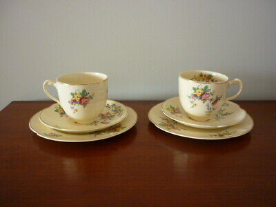 Early Johnson 1913-1941 teacups saucers plates 2 sets Victorian pattern orchards