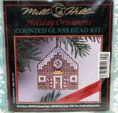 Mill Hill GINGERBREAD HOUSE Christmas Ornament (1990) Counted Glass Bead Kit H9