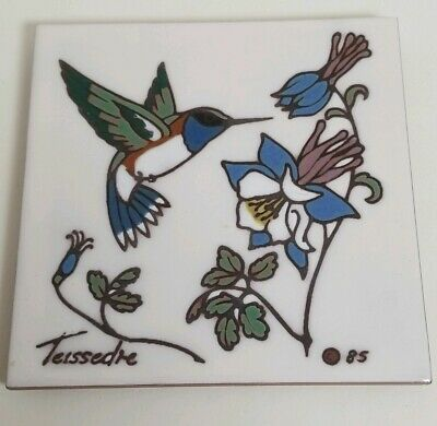 "Cleo Teissedre Hand Painted Kiln Fired 6""x6"" Ceramic Hummingbird Tile Trivet"