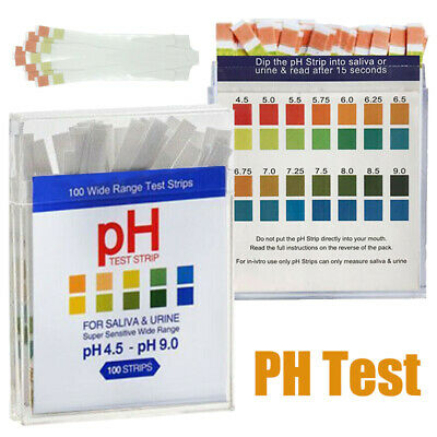 100 x PH Test PH4.5-9.0 For Strips Urine&Saliva Testing Sticks Diet Set Alkaline