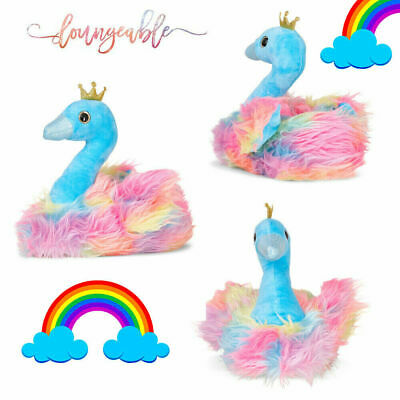 Loungeable Womens Novelty Rainbow Swan Soft Slippers 3D Fluffy Nightwear Warm