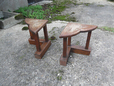 Vintage Pair of Solid Oak Hearth/Stool/Table Ends