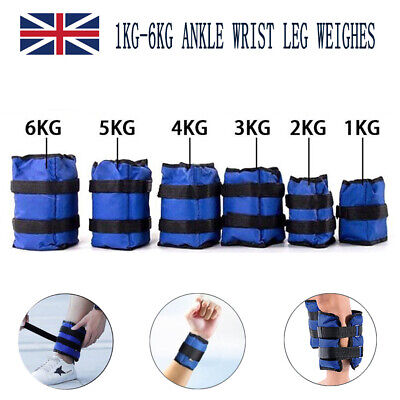 Ankle Weights Resistance Strength Training Exercise Bracelets Straps Gym 1 - 6kg