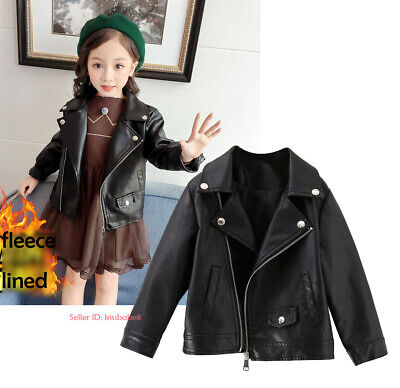 Kids Girls Warm Leather Jacket Fleece Lined Biker Coat Zip Up Motorcycle Outwear