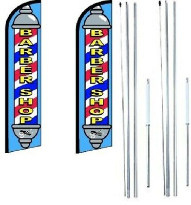 Pack of 2 Burgers Now Open King Windless Flag Sign With Complete Hybrid Pole set