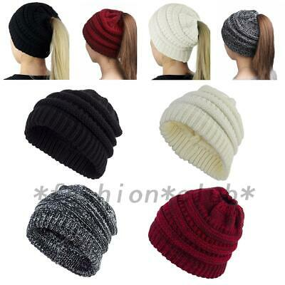 Knitting Ponytail Messy Bun Beanie Tail Knit Hole Soft Stretch Cable Winter Hat