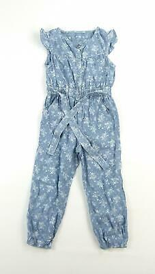 Nutmeg Girls Blue Floral Cotton Trousers Age 3-4
