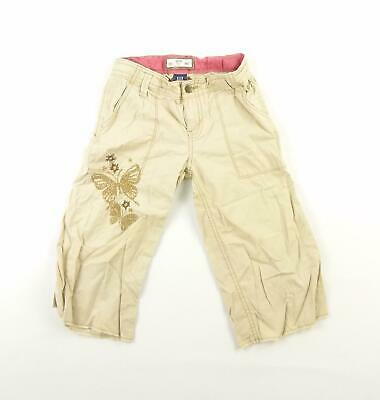 Gap Girls Beige Plain Cotton Trousers Age 6