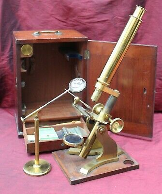 TOP QUALITY BRASS MICROSCOPE BY BAKER, LONDON C 1890 with ORIGINAL BOX