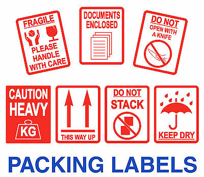 Mise en Carton Stickers - Fragile - Lourd - Keep Dry - Documents Enclosed -