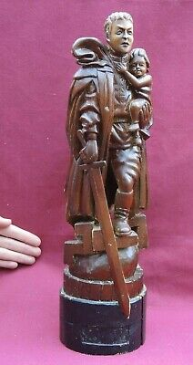 """SOLDIER Liberator STATUE WW2 Berlin MONUMENT 17""""=42cm Old Solid Wood HAND CARVED"""
