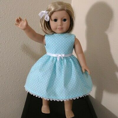 DOLL DRESS FITS 18 inch AMERICAN GIRL DOLL ~ Lined bodice AQUA PARTY DRESS  5391