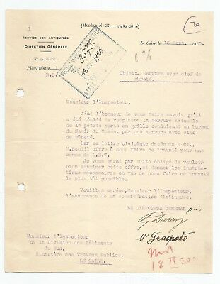EGYPT ÄGYPTEN 1920 LETTER SIGNED by France Georges Émile Daressy LOT 12