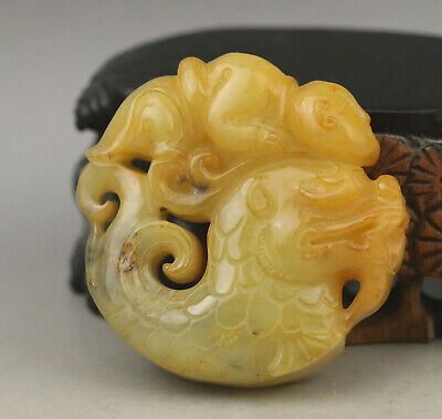 Old Chinese natural jade hand-carved fish and man pendant