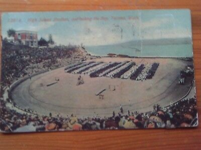 1911 Postcard Football Game Tacoma Washington 1915 Panama Exposition Cancell