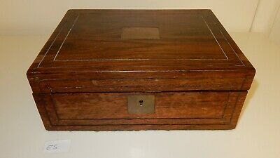 Antique Rosewood Military Style Stripped Writing Slope Recessed Handles (E5)