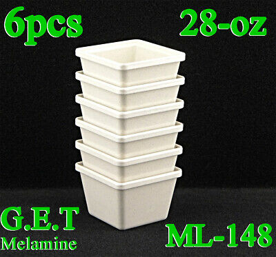 6-pcs GET ML-148-IR Ironstone 28 oz. Square Melamine Crock Salad Bar Container
