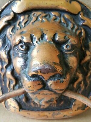 Awesome Antique Lion Head Copper Plated Cast Iron Towel Holder All Original.