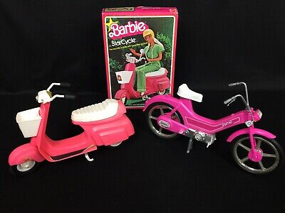 Vintage Barbie Vehicles Star Cycle Scooter Moped w/ Box & Pink Bicycle