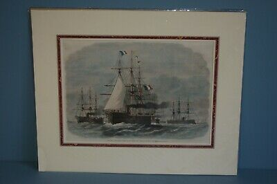 Antique Victorian Hand Tinted Wood Cut Engraving French Admirals Flagship c1870