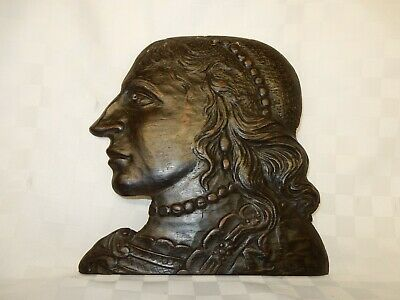 Antique C18th Carved Oak Wall Hanging Dummy Board Plaque Ladies Head