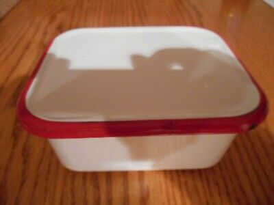 Vintage Enamelware Small Refrigerator Box with Cover  in White/Red