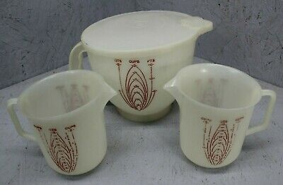 Vintage Tupperware Mix N Stor Measuring Pitcher / Bowl Lot - 8 cup & (2) 4 cup