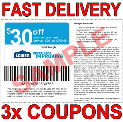 3x LOWES $30 OFF $50 FAST EMAIL DELIVERY-1COUPON INSTORE ONLY EXPIRES 𝟏𝟎/𝟐𝟓