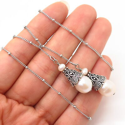 925 Sterling Silver Vintage Real Pearl Ethnic Design Scarf Chain Necklace 19""