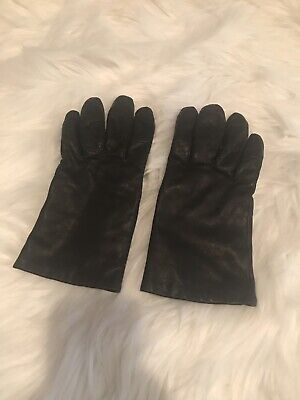 Women's Geniune Black Leather Gloves Size Small