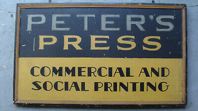 "Antique single sided framed & on tin trade sign, ""Peter's Press"", original paint"