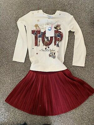 Red Mayoral Velvet Skirt And Top Set Age 6 Years BNWT Very Festive 🎄