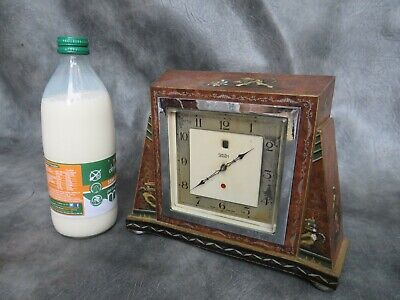 A GOOD WORKING CHINOISERIE CASED SMITHS ELECTRIC CLOCK c1950