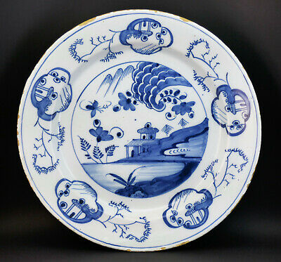 c1750, LARGE ANTIQUE 18thC DUTCH DELFT BLUE AND WHITE CHINOISERIE CHARGER PLATE